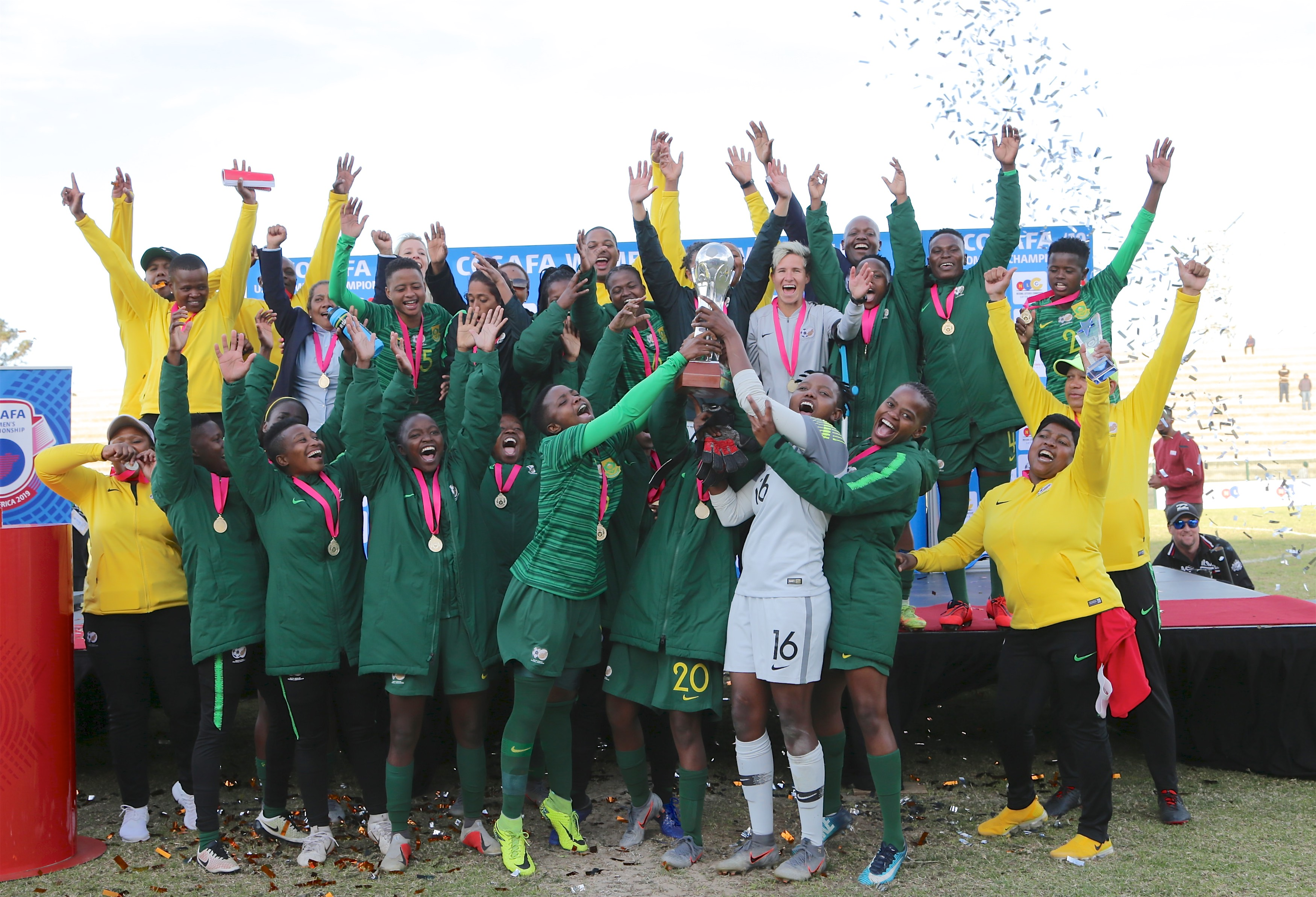 Banyana Banyana win the 2019 COSAFA Women's Championship final match against Zambia at Wolfson Stadium on August 11, 2019 in Port Elizabeth, South Africa.