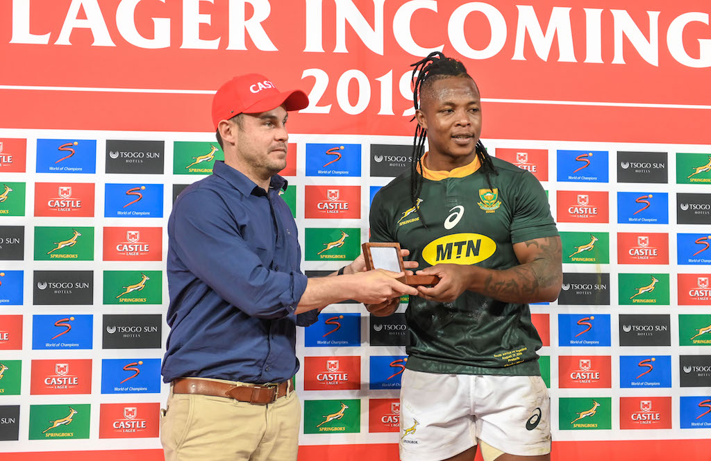 South Africa wing Sbu Nkosi was awarded the man of the Match during the 2019 Castle Lager RWC Warm Up match at Loftus Versfeld in Pretoria on 17 August 2019