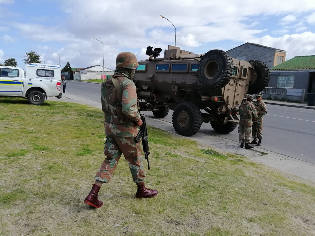 Soldiers seen on the Cape Flats taking part in an anti-crime campaign.