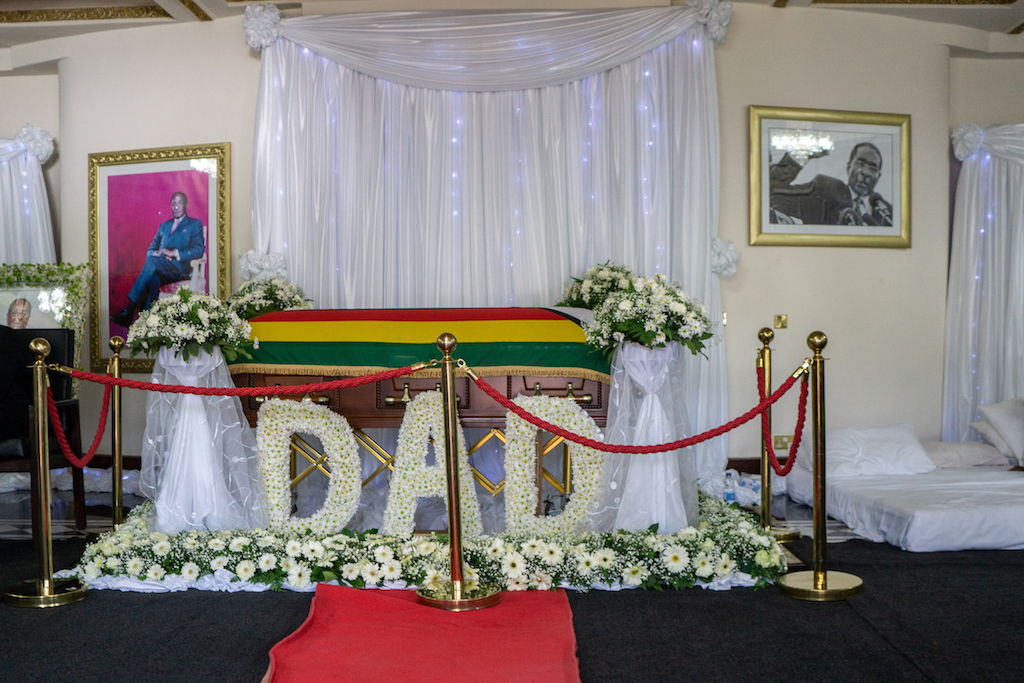 The body of late president Robert Mugabe lies in state at the Mugabe's residency in Harare on 12 September 2019.