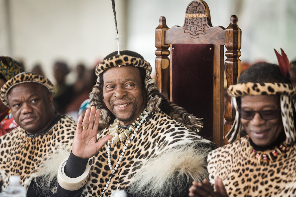 Zulu King Goodwill Zwelithini ka Bhekuzulu (L) and senior Prince of the Zulu Nation and former leader of the Inkatha Freedom Party ( IFP ) Prince Mangosuthu Buthelezi (R) join thousands of people to commemorate King Shaka's Day Celebration near the grave of the great Zulu King Shaka at Kwadukuza, on 24 September 2019.
