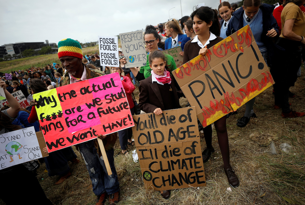Young activists march as part of the Global Climate Strike of the movement Fridays for Future, in Cape Town, South Africa on 20 September 2019.