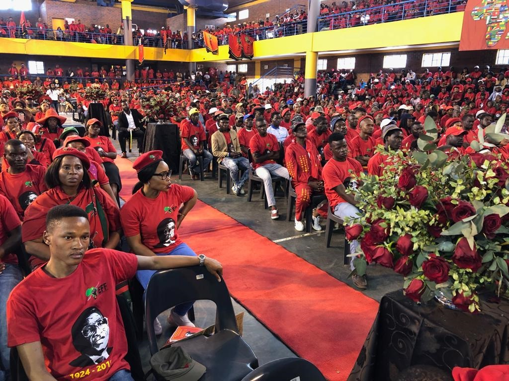 EFF supporters attend a memorial service in Soweto for former Zimbabwean President Robert Mugabe