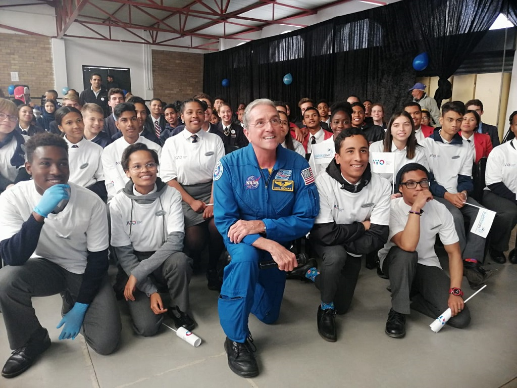 Former NASA astronaut Don Thomas at the Cape Academy of Maths, Science and Technology