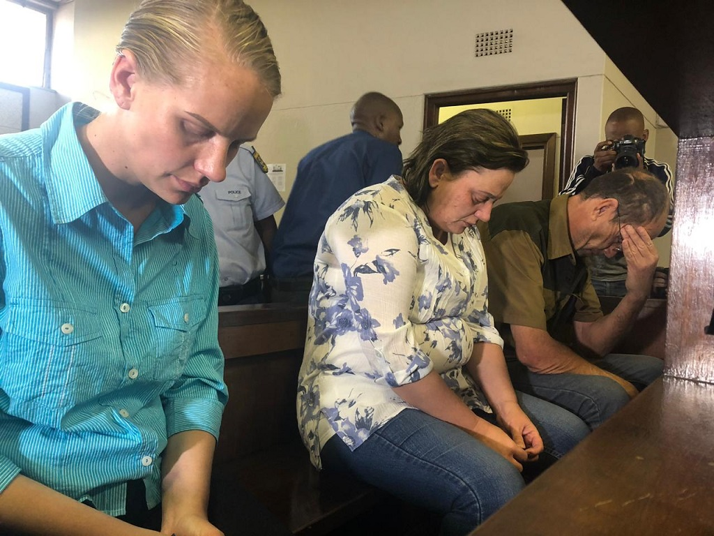 File: Tharina Human, Laetitia Nel and Pieter Jacobus van Zyl in the dock on day two of their bail application in the Amy'Leigh de Jager kidnapping case.