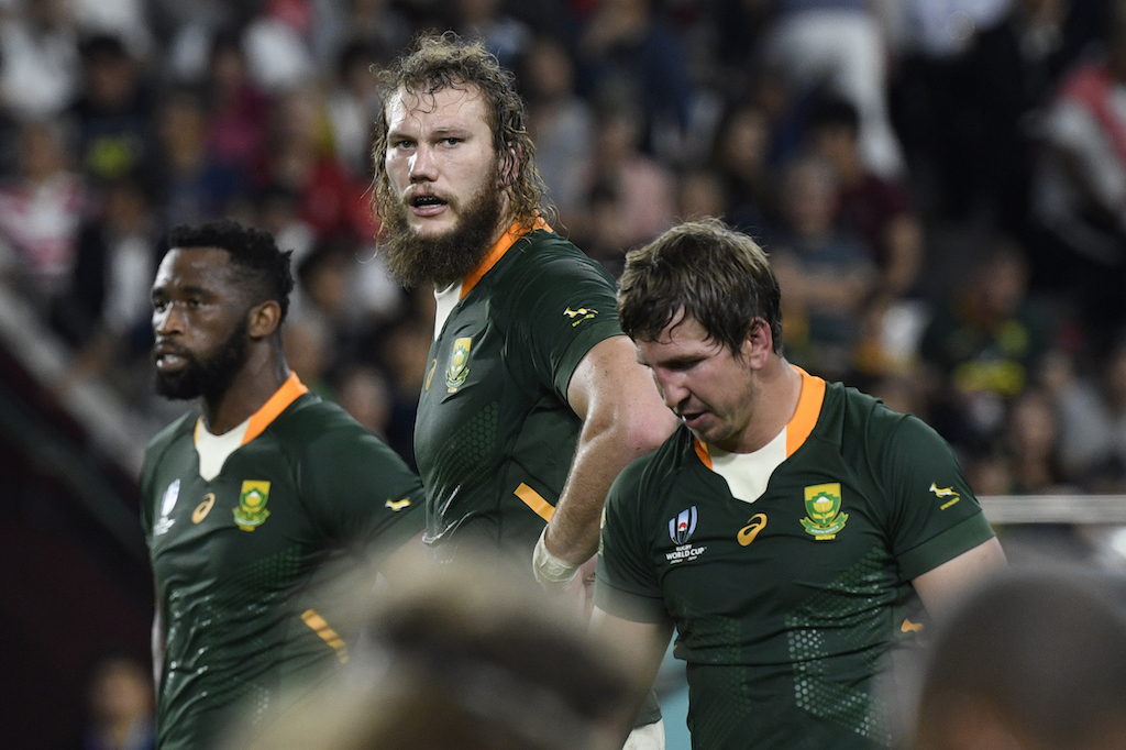 South Africa's lock RG Snyman (C) looks on during the Japan 2019 Rugby World Cup Pool B match between South Africa and Canada at the Kobe Misaki Stadium in Kobe on October 8, 2019.