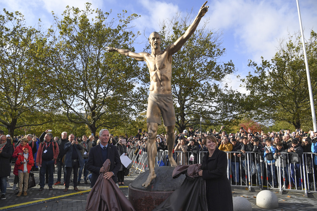 The 2,7 m bronze statue of Sweden's biggest football star, Los Angeles Galaxy's forward Zlatan Ibrahimovic, on 8 October 2019 near the stadium where he made his professional debut in his hometown of Malmo in southern Sweden.