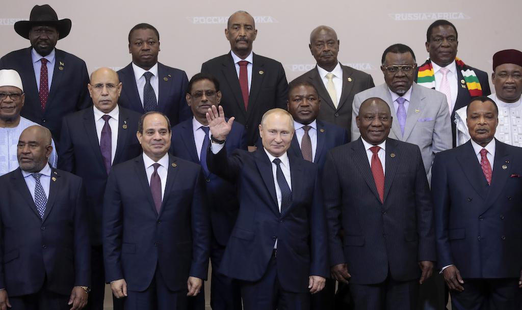 Vladimir Putin with African leaders.