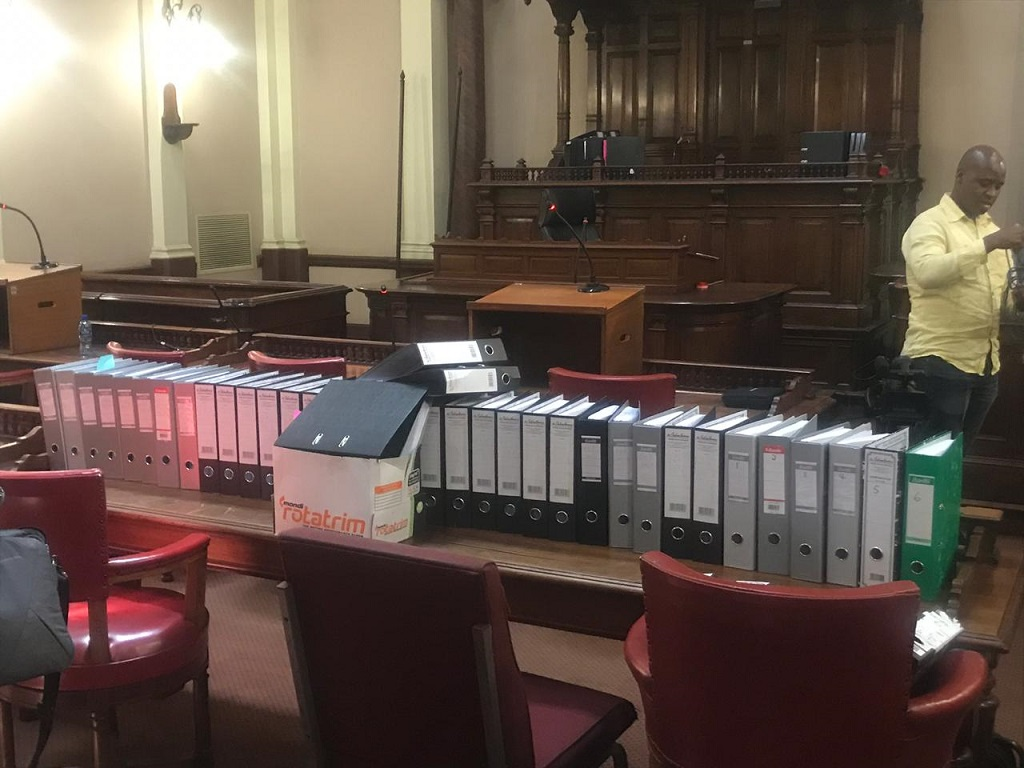 Files of documents in the Palace of Justice for the case against Dudu Myeni by Outa and SAA Pilots Association.