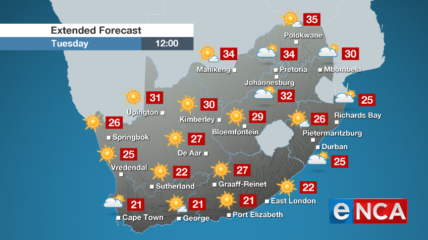 Weather forecast for Wednesday