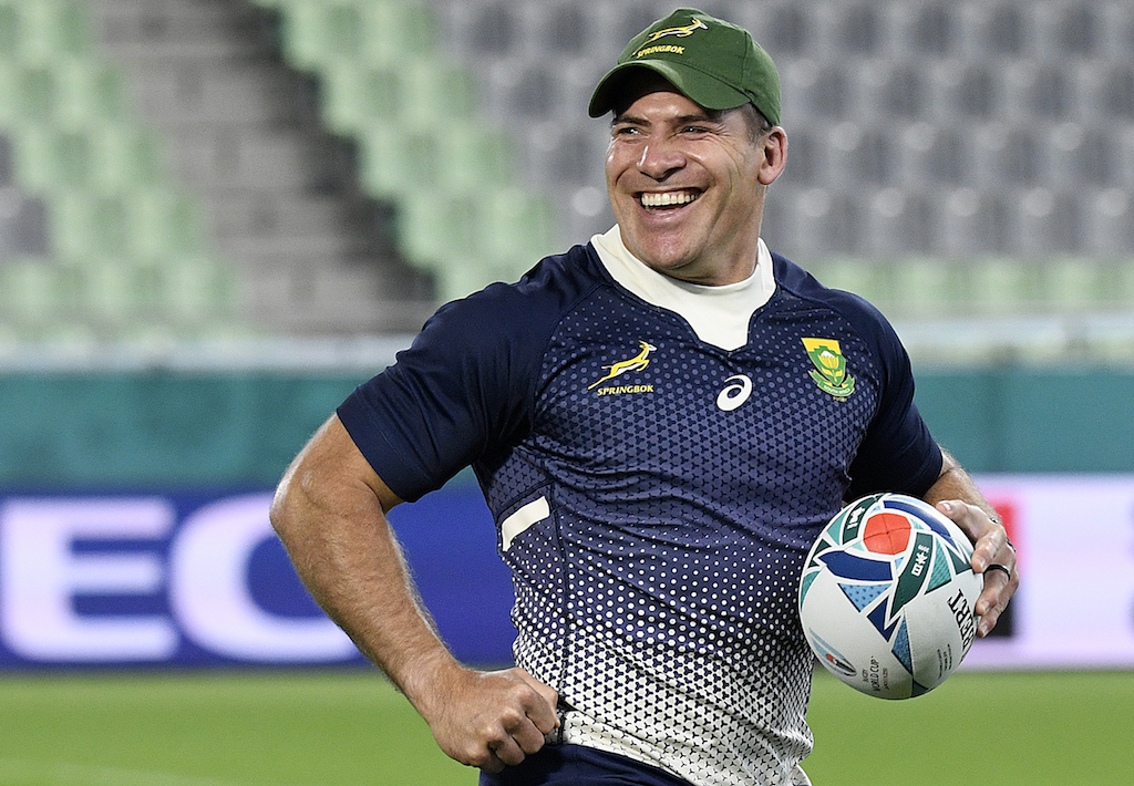 South Africa's hooker Schalk Brits takes part in a captain's run training session at the Kobe Misaki Stadium in Kobe on October 7, 2019, on the eve of their Japan 2019 Rugby World Cup Pool B match against Canada.