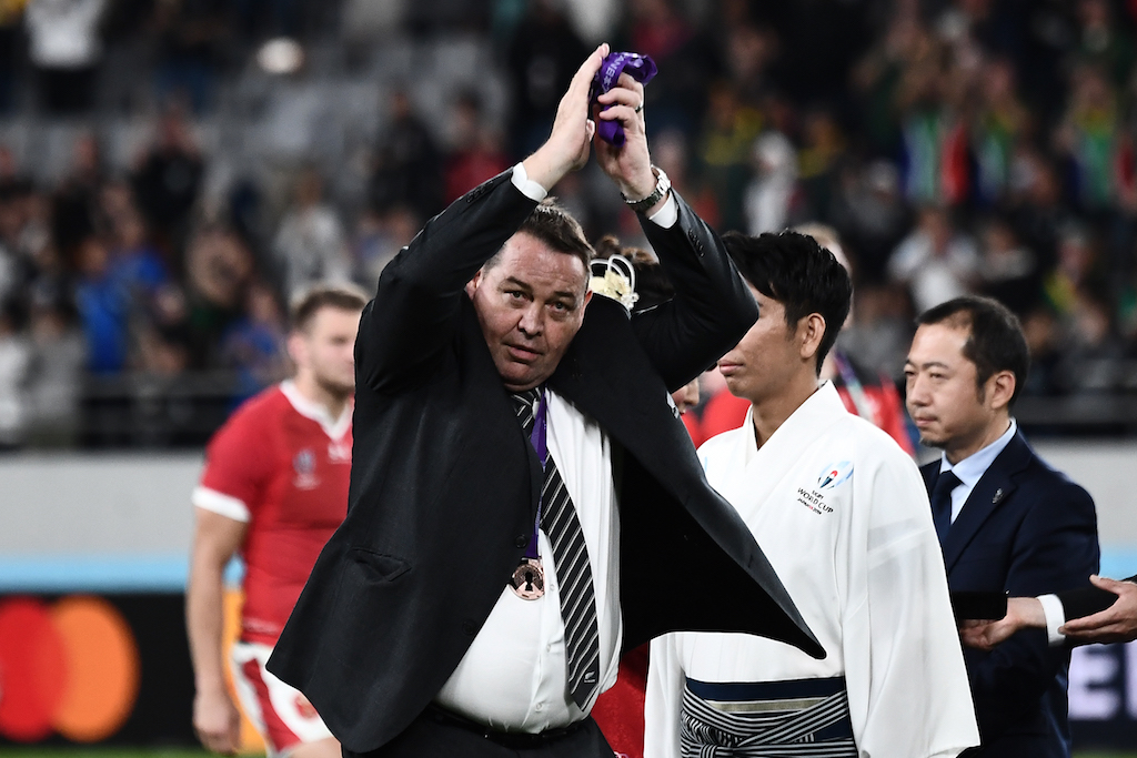 New Zealand's head coach Steve Hansen gestures after winning the Japan 2019 Rugby World Cup bronze final at the Tokyo Stadium in Tokyo on 1 November 2019.