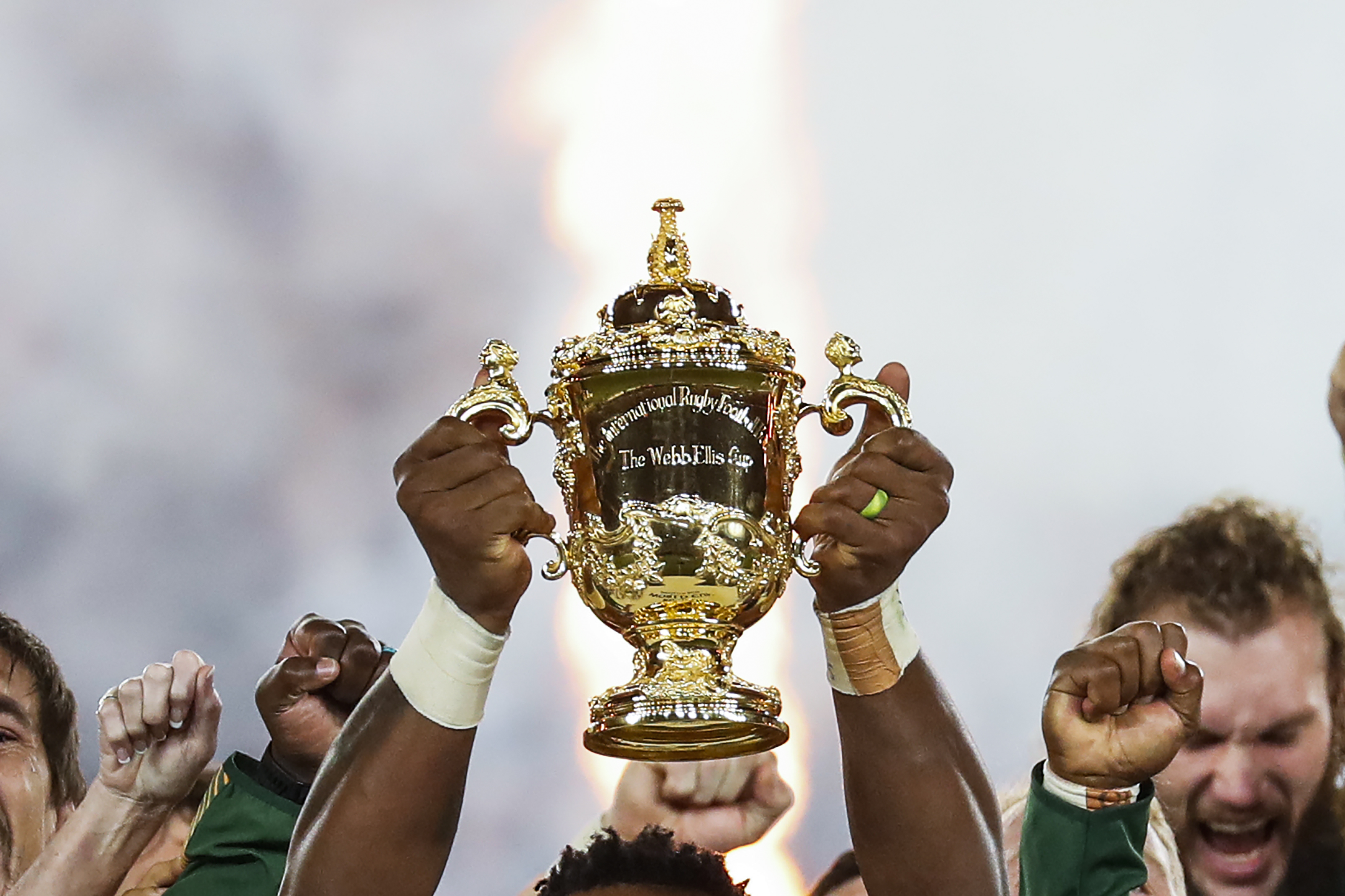 South Africa's flanker Siya Kolisi lifts the Webb Ellis Cup as they celebrate winning the Japan 2019 Rugby World Cup final match between England and South Africa at the International Stadium Yokohama in Yokohama on November 2, 2019.