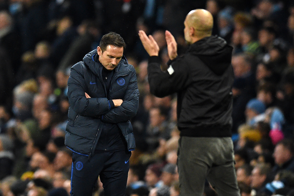 Chelsea head coach Frank Lampard (L) reacts on the touchline during the English Premier League football match between at the Etihad Stadium in Manchester, England, on 23 November 2019.