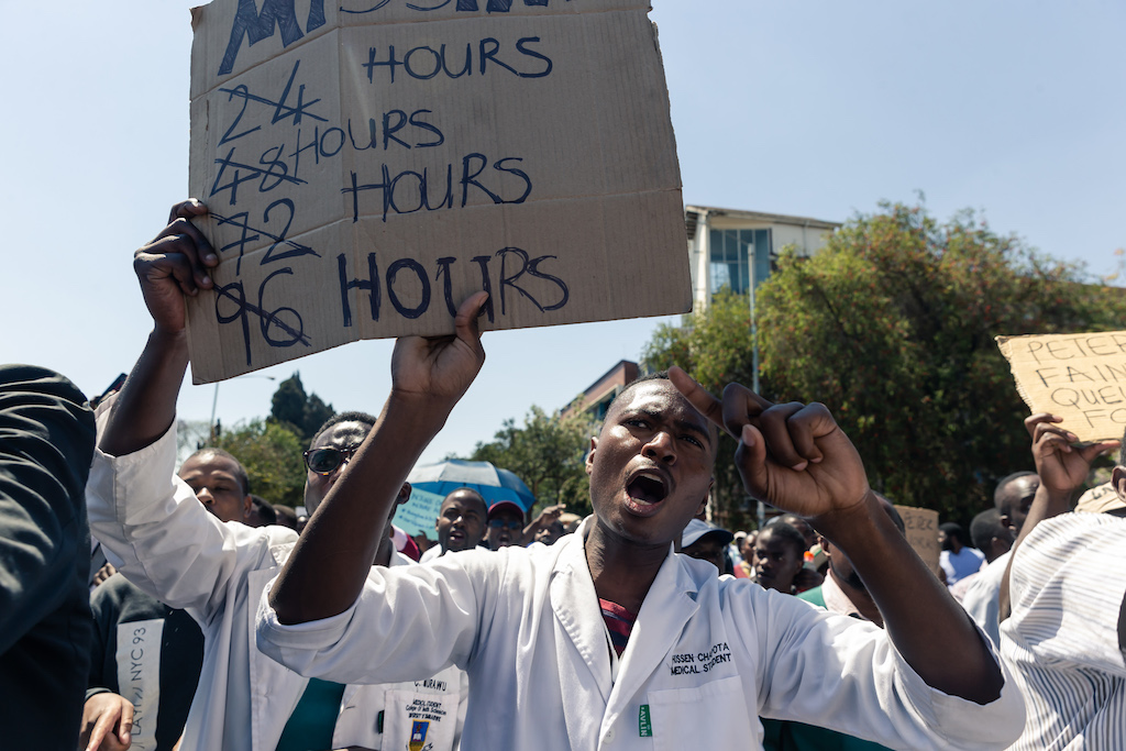 File: The strike by junior and middle-level doctors has paralysed state hospitals.