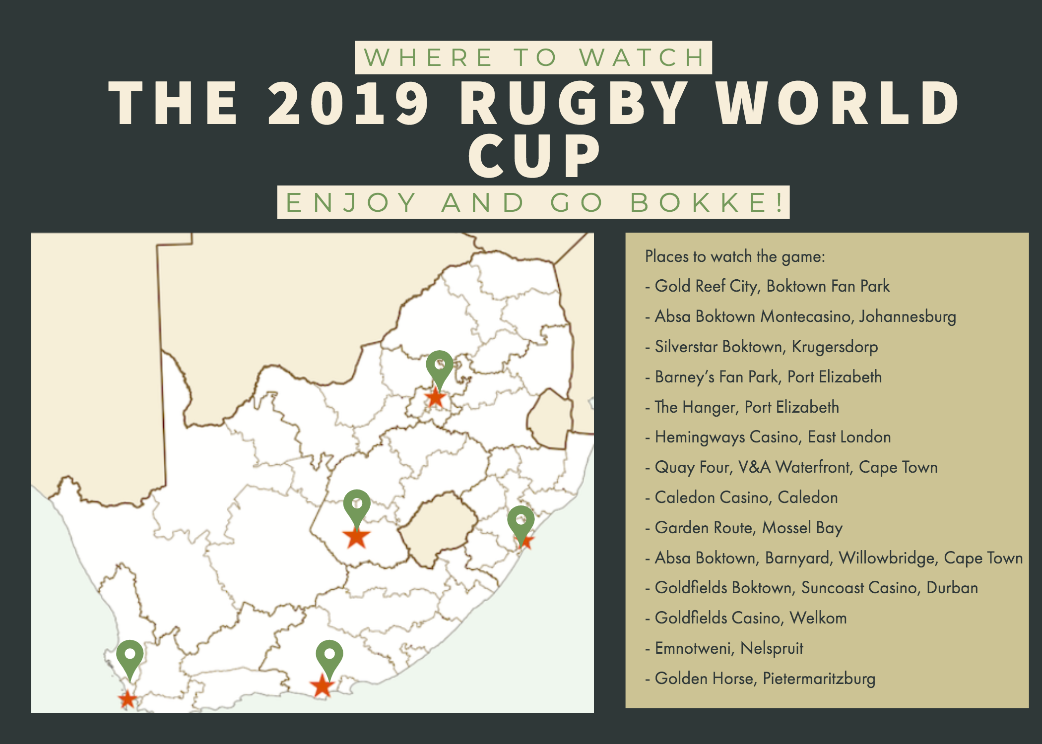 Infographic of places to watch the final game of the 2019 Rugby World Cup