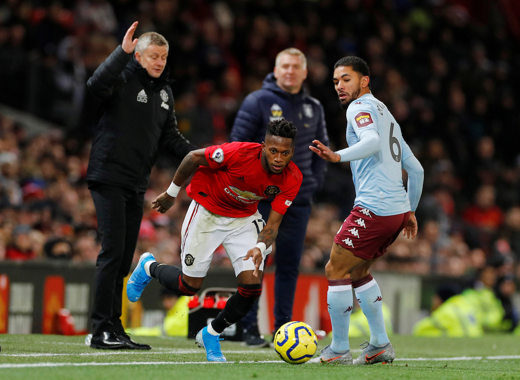 Manchester United's Fred in action with Aston Villa's Douglas Luiz during a Premier League match at Old Trafford in Manchester, Britain on 1 December 2019.