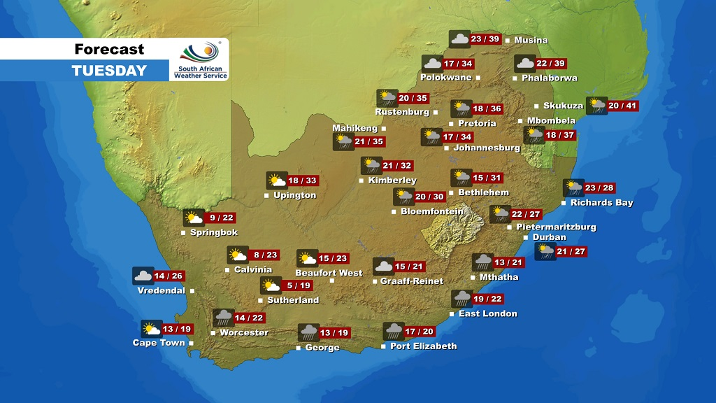The weather forecast for South Africa on Tuesday, December 3, 2019.