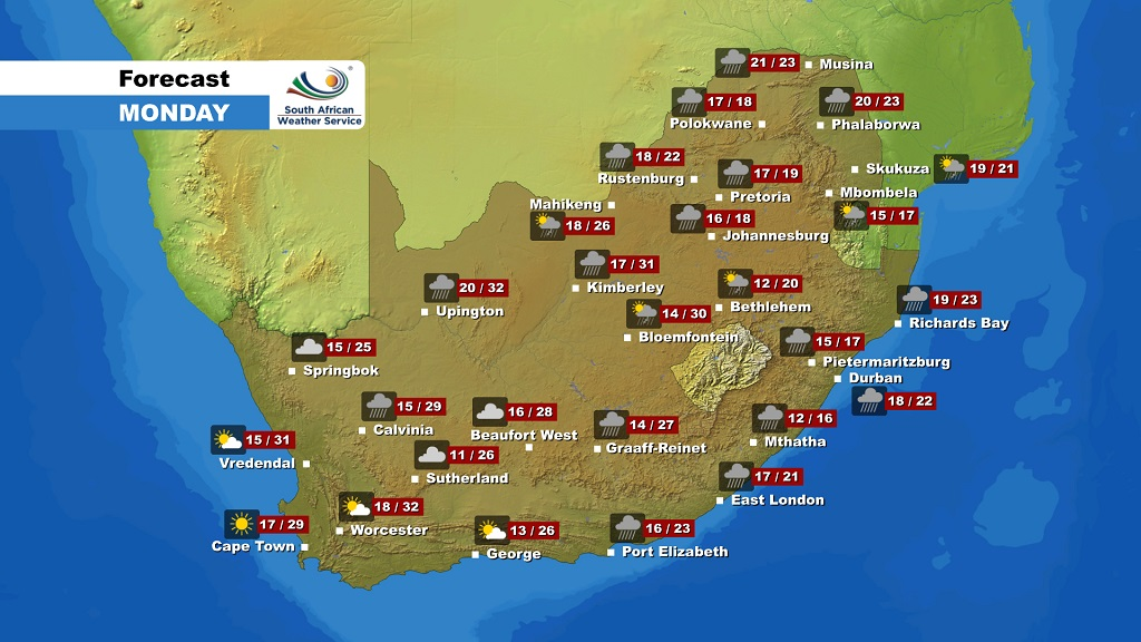 Weather Map South Africa Weather forecast   Monday 9 December 2019 | eNCA