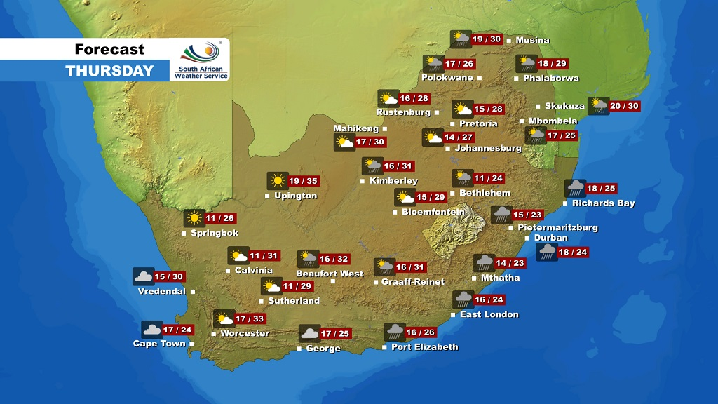 The weather forecast for South Africa on Thursday, 12 December 2019
