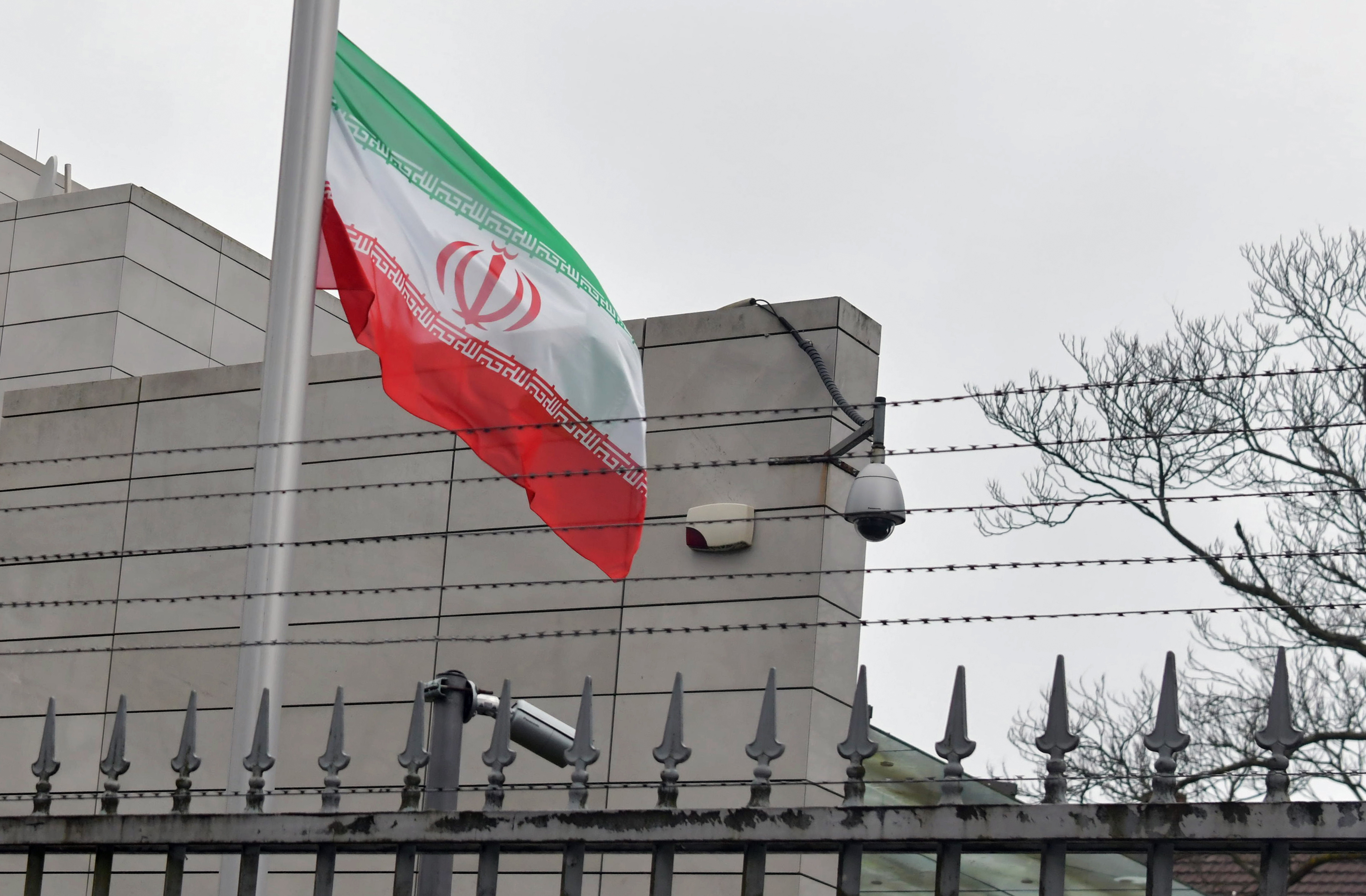 The Iranian flag at half-mast at their embassy in Berlin on January 3, 2020, following the killing of Iranian commander Qasem Soleimani.