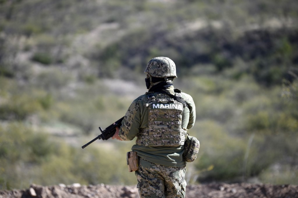 A member of the Mexican Navy stands guard upon the landing of Air Force helicopters at La Mora ranch, in Bavispe, Sonora state, Mexico, on January 11, 2020.