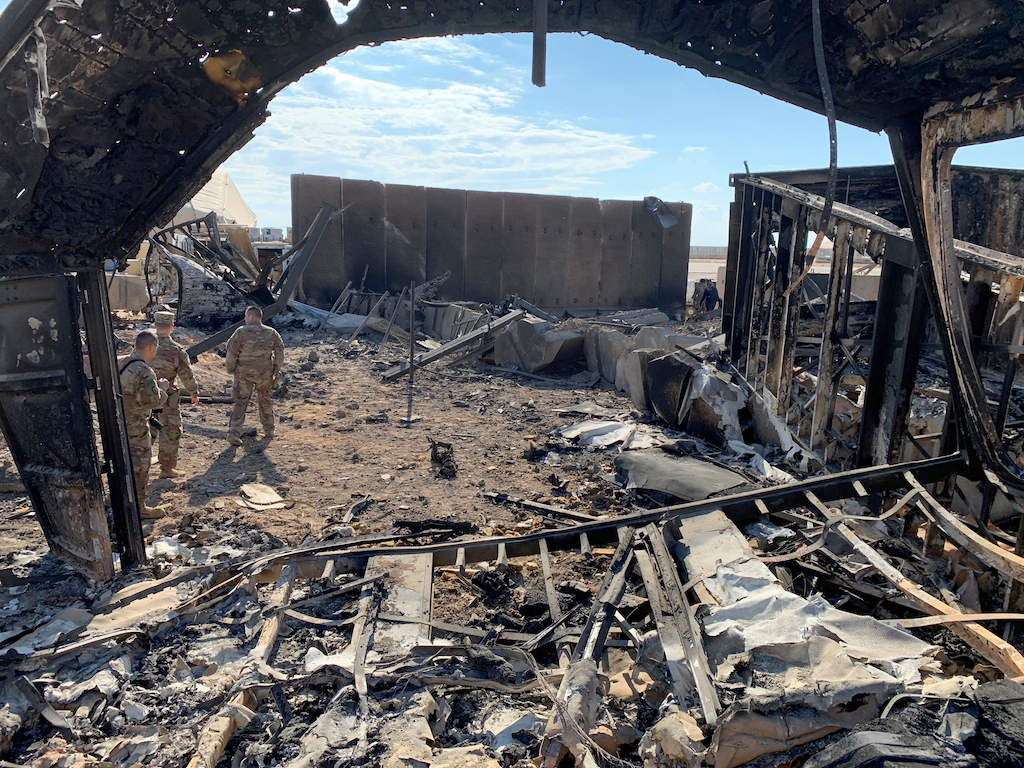 A view of the damage at Ain al-Asad military airbase housing US and other foreign troops in the western Iraqi province of Anbar.