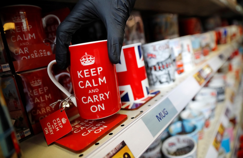 Union flag-themed souvenirs are displayed for sale in a store in London after Britain became the first country to formally leave the EU.