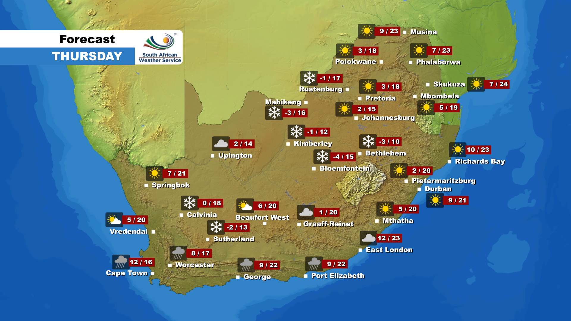 Here is the weather forecast for Thursday, 28 May 2020.