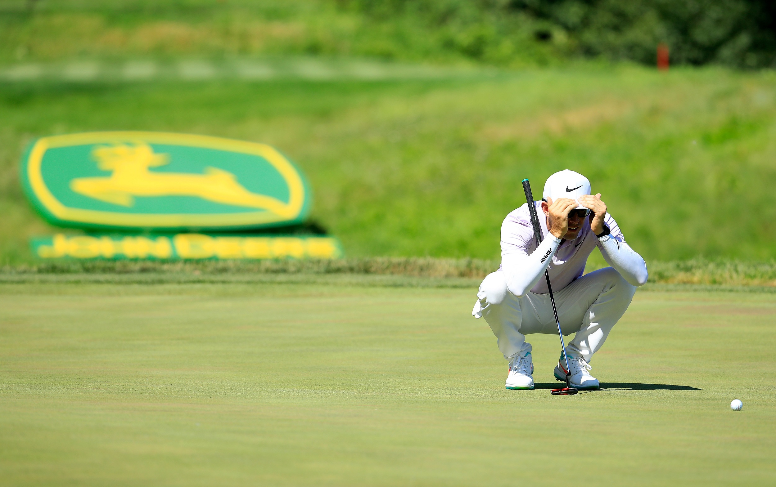 File: Dylan Frittelli of South Africa lines up a putt on the 16th green during the final round of the John Deere Classic.