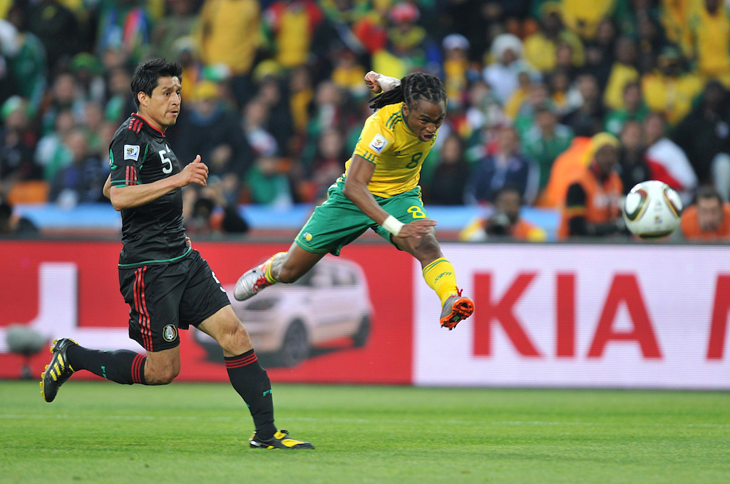 South Africa's Siphiwe Tshabalala scores the opening goal of the 2010 FIFA World Cup against Mexico at Soccer City in Johannesburg, South Africa.