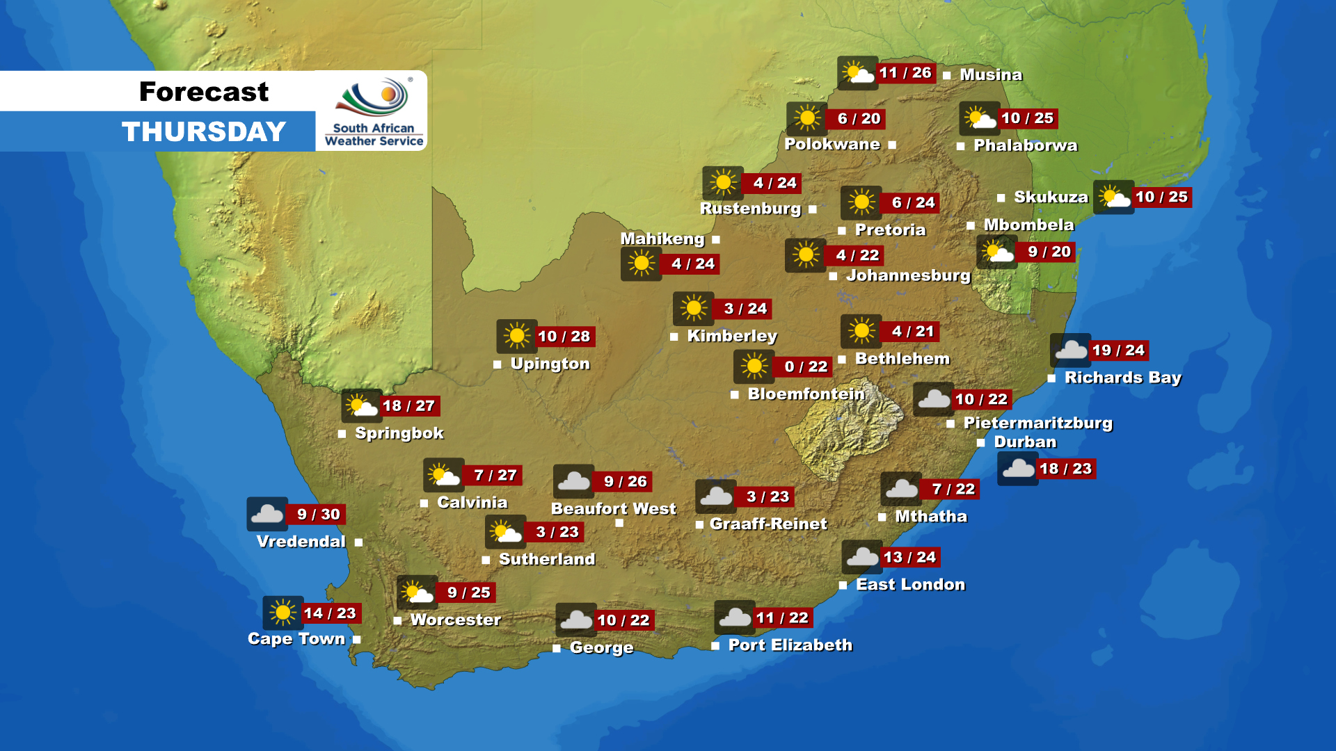 Here is the weather forecast for Thursday, 4 June 2020.
