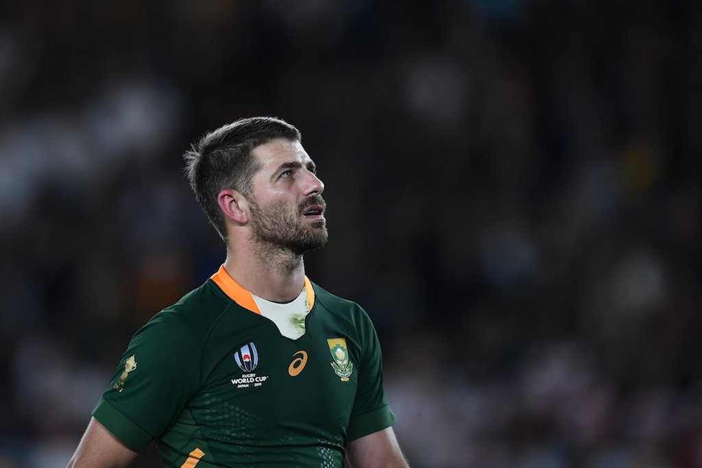 File: South Africa's full back Willie Le Roux looks on during the Japan 2019 Rugby World Cup final match between England and South Africa at the International Stadium Yokohama in Yokohama on November 2, 2019.
