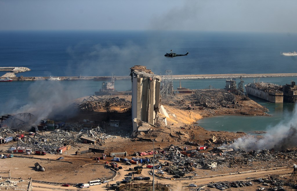 A general view shows the damaged grain silos of Beirut's harbour and its surroundings on August 5, 2020, one day after a powerful twin explosion tore through Lebanon's capital, resulting from the ignition of a huge depot of ammonium nitrate at the city's main port.