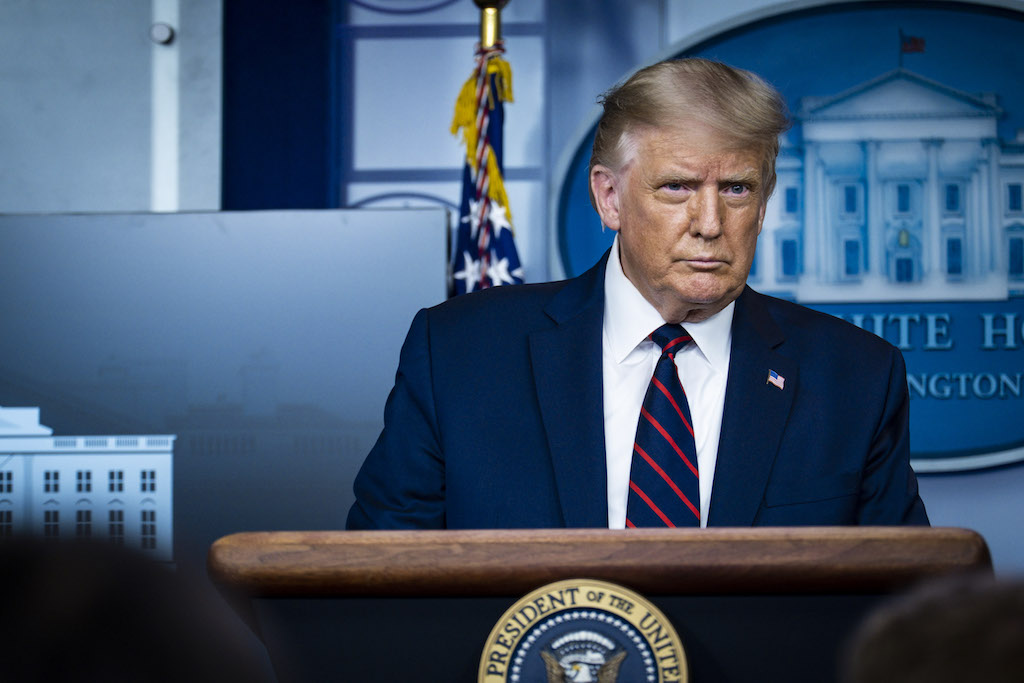 President Donald Trump during a press conference in James S. Brady Briefing Room at the White House on August 23, 2020 in Washington, DC.