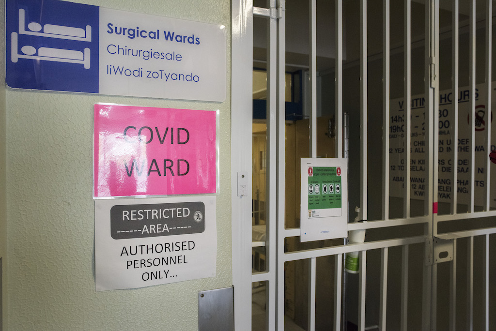 A general view of the outside of a COVID-19 ward at  Hospital in Cape Town.