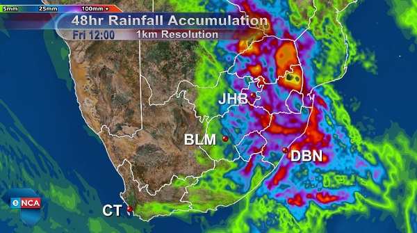 Accumulated Rainfall Wednesday to Friday
