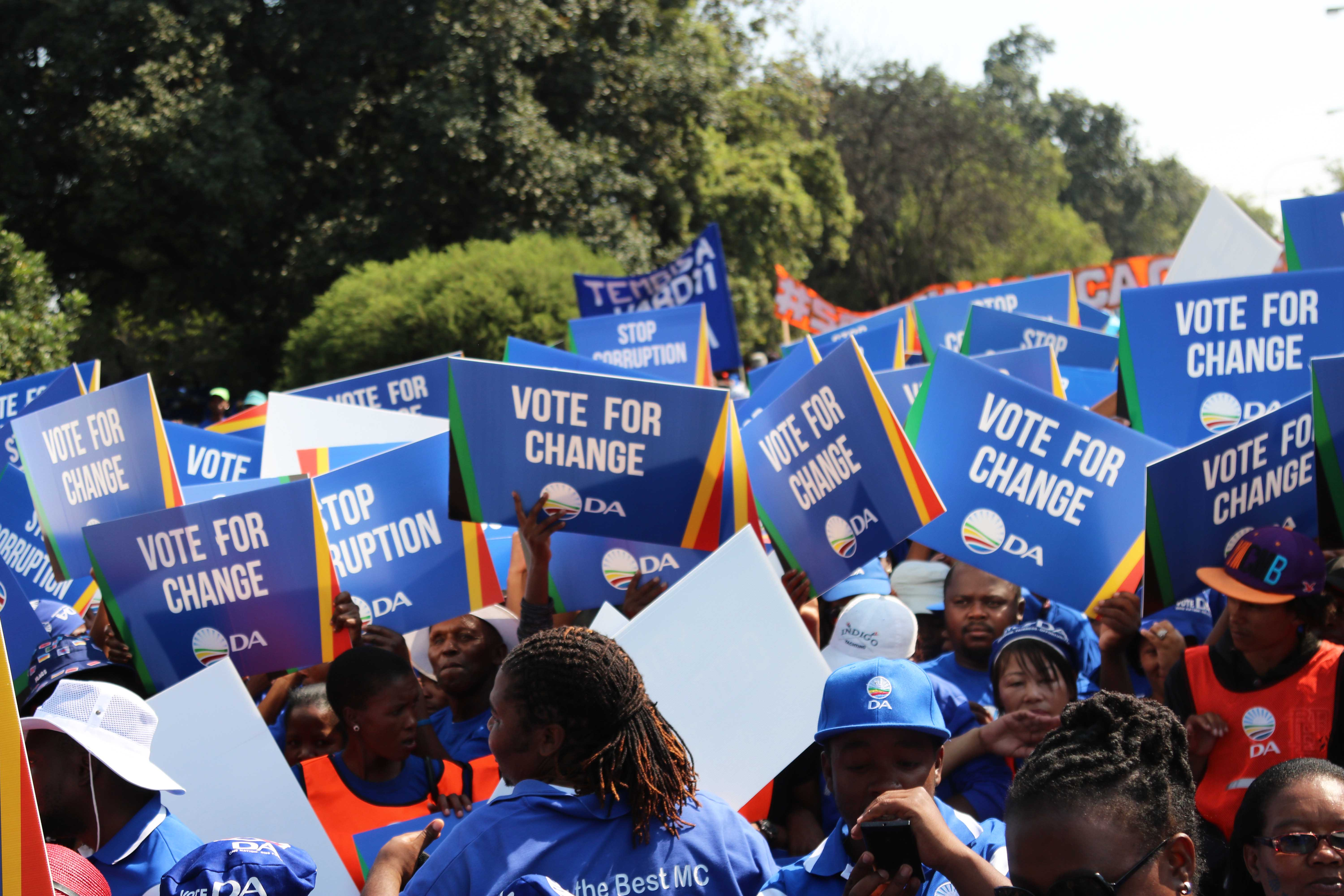 Democratic Alliance supporters during the party's march to the Constitutional Court.