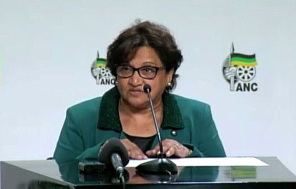 May 20, 2014: ANC Deputy Secretary general Jessie Duarte addresses the media at the announcement of the ANC premiers who will lead eight of the provinces in South Africa.