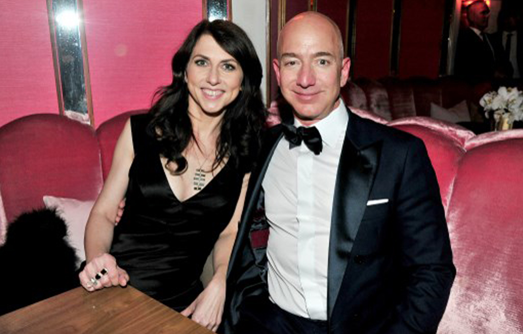 File: CEO of Amazon Jeff Bezos and writer MacKenzie Bezos attend the Amazon Studios Oscar Celebration at Delilah in West Hollywood, California.