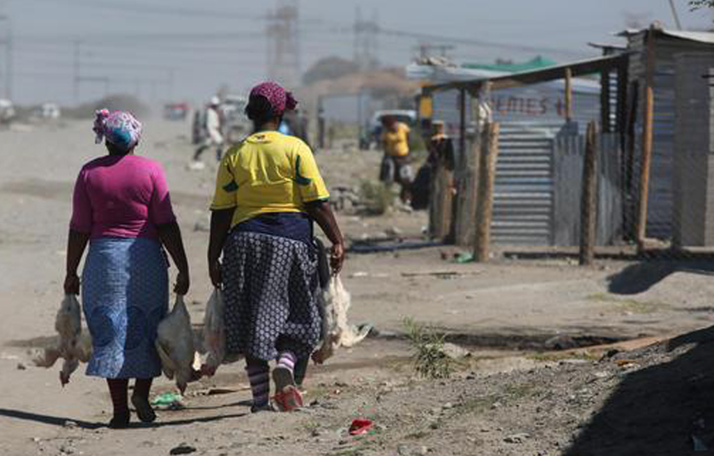 Women with chickens walk along a dirt paths to their homes among hundreds of shacks which house mineworkers, in Marikana South Africa.