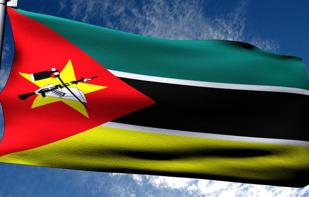 The national flag of Mozambique.