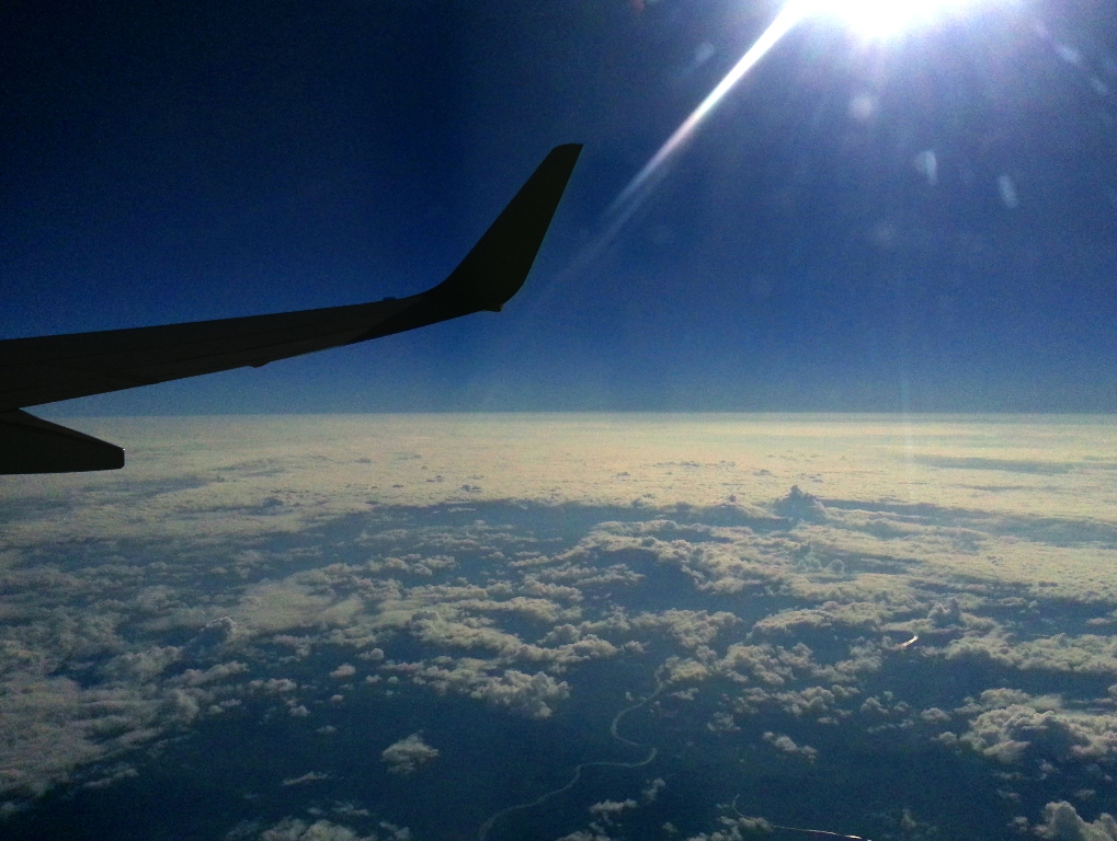 An aircraft wing reflects the sunlight while on route between Durban and Johannesburg.