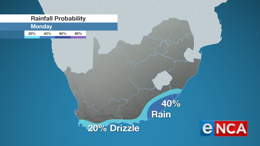 Rainfall for Monday 26 August 2019