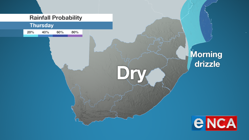 Rainfall for Thursday 26 September 2019