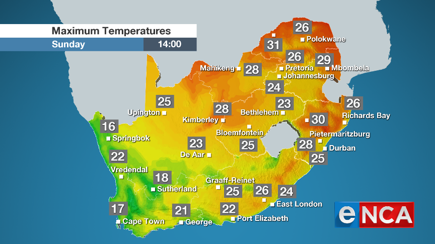 Weather forecast for Sunday 4 August 2019 | eNCA
