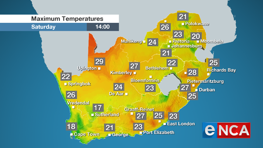 Weather Forecast for Saturday 10 August 2019 | eNCA