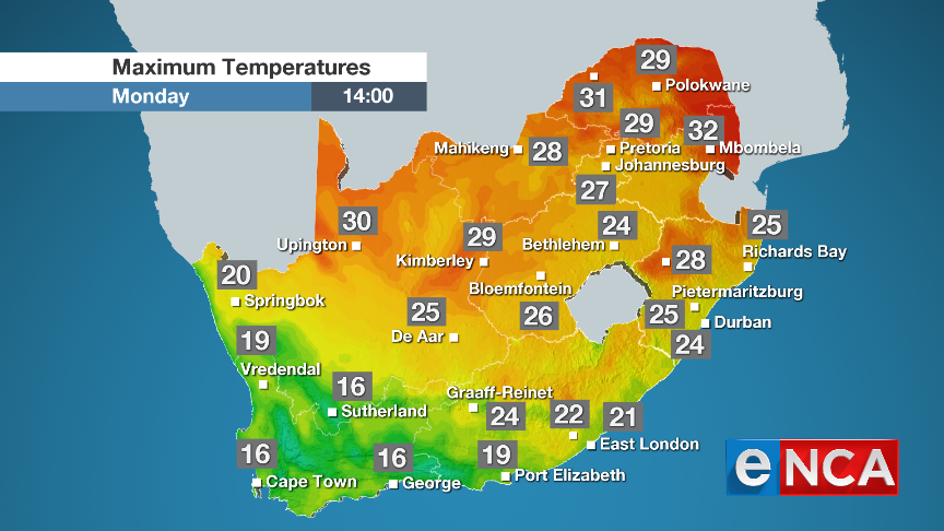 Maximum temperatures for Monday 26 August 2019