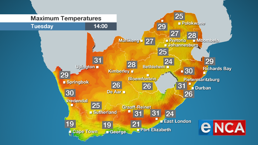 Maximum temperatures for Tuesday 3 September 2019