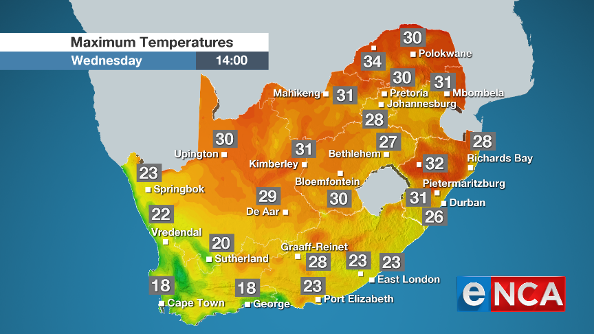 Maximum temperatures for 11 September 2019